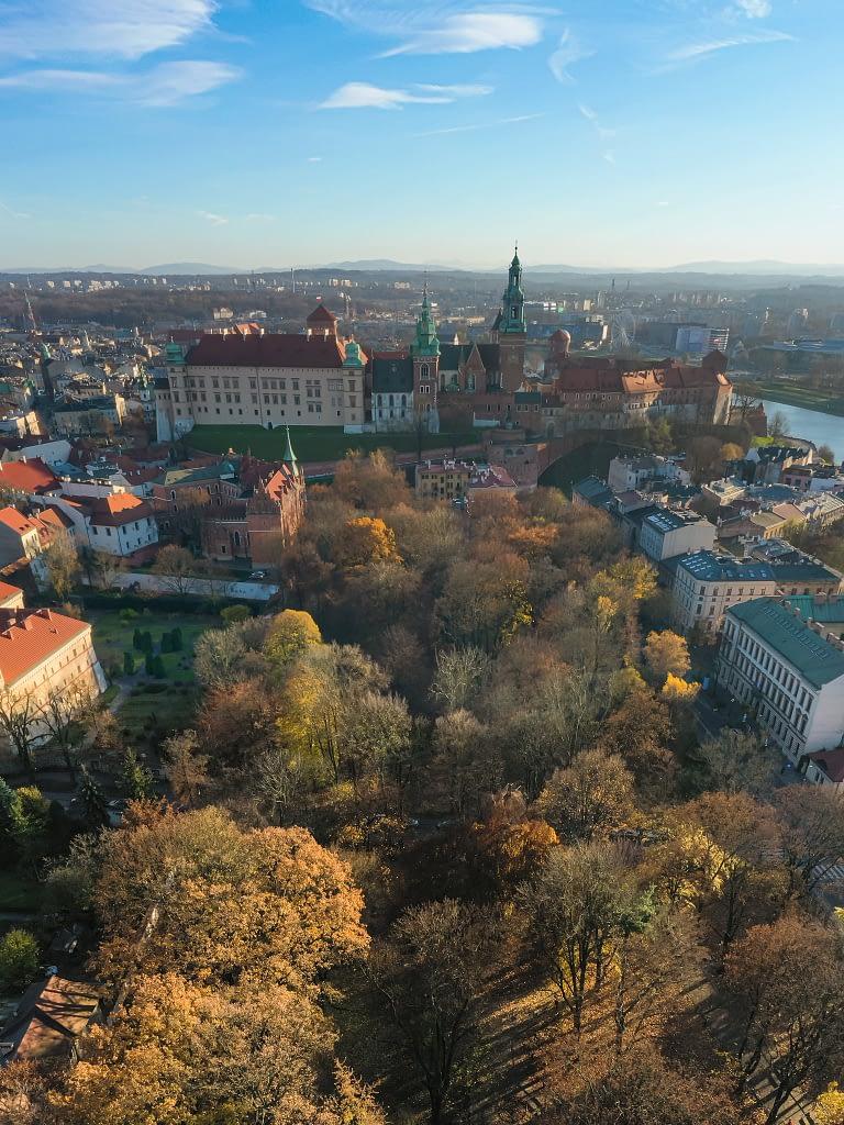 fotografia-z-drona-Krakow-Wawel-panorama